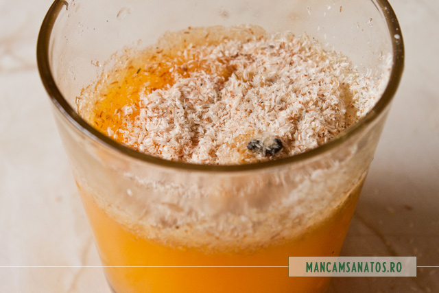 suc de portocale cu tarate de psyllium si vanilie, pentru bomboane jeleu