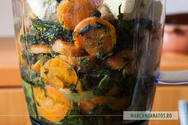 morcovi, spanac si mustar in blender, pentru spuma picanta