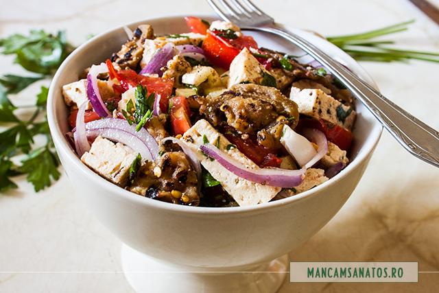 salata picanta cu vinete la gratar si tofu
