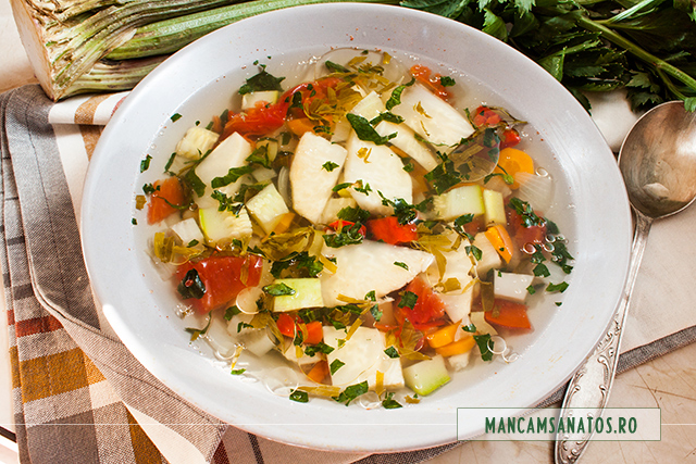 ciorba vegetariana de telina, cu tarhon