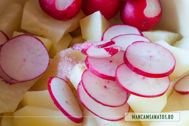 cartofi si telina fierte, pentru salata cu superalimente