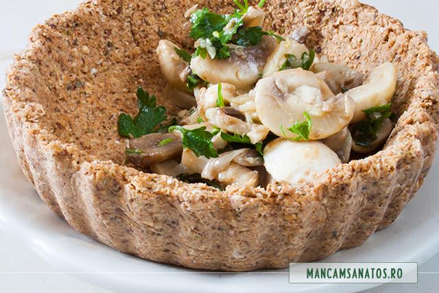 aluat de tarta raw vegan, pentru umplut cu ciuperci