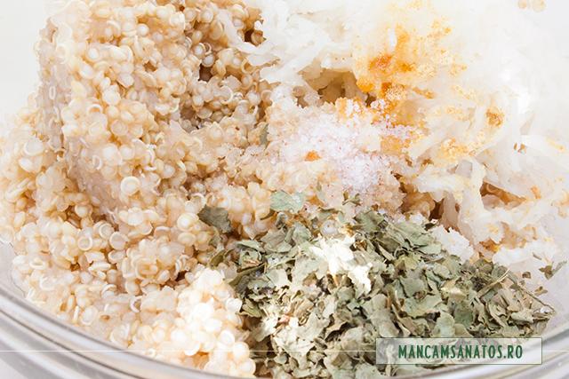 quinoa fiarta, cu ridiche alba, pudra ghimbir, ulei presat la rece de floarea soarelui, coriandru