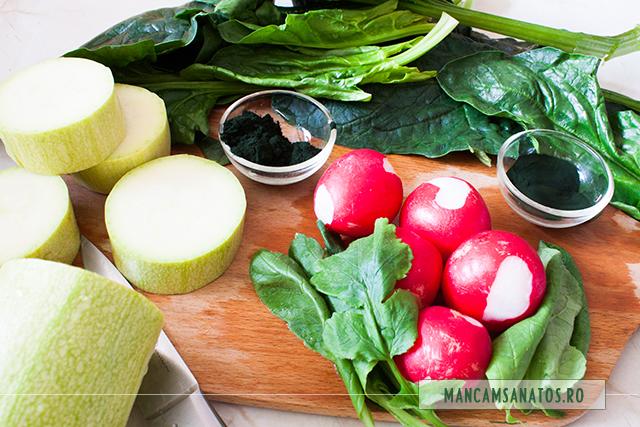 dovlecel, ridichi, spanac, si microalge, pentru suc verde