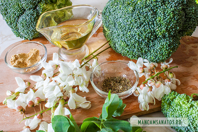 broccoli si flori de salcam, curatate si spalate, pentru pregatit