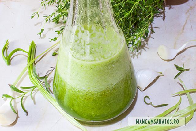emulsie de usturoi verde, cu cimbru si rozmarin