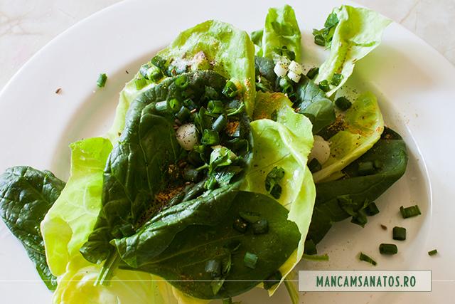 salata verde, spanac, ceapa si patrunjel verde, ienibahar, anason si ghimbir, ca pat pentru sparanghel fiert la aburi