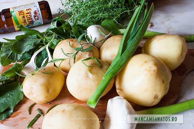 ingrediente pentru salata de cartofi noi si stir, cu emulsie de usturoi verde cu cimbru si rozmarin