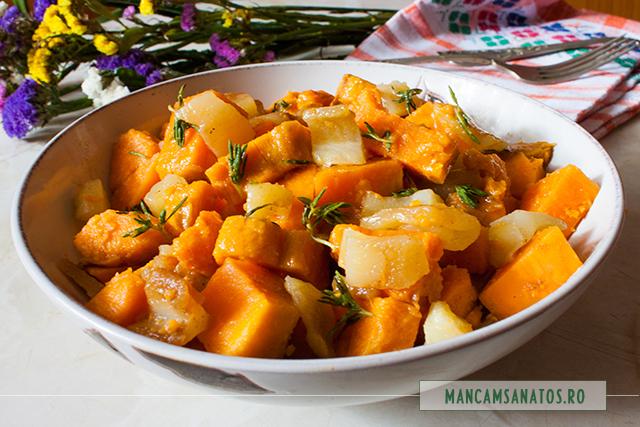 cartofi dulci si ardei copti, cu mirodenii si dressing de lamaie