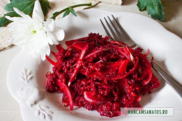 sfecla rosie si ceapa, in dressing de mustar cu turmeric