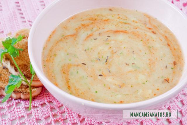 supa crema de cartofi, cu chimen si boia de ardei dulce