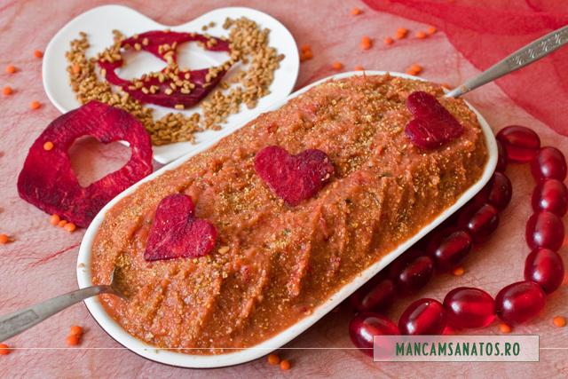 piure de linte rosie, cu sfecla si schinduf