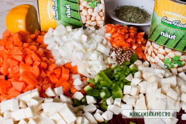 conserve naut,  legume tocate si coriandru, pentru ciorba de naut