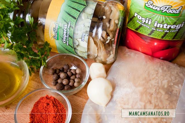 orez brun, ciuperci si rosii conservate Sun Food si mirodenii