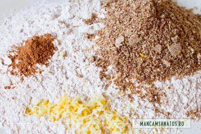 faina integrala, coaja de lamaie, scortisoara, indulcitor natural, pentru aluat de baza, dulce