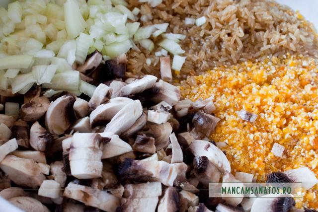 pasat, orez, ciuperci si ceapa, pentru sarmale vegetariene