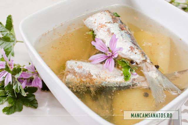 supa picanta de sardine, cu nalba de camp (salbatica)