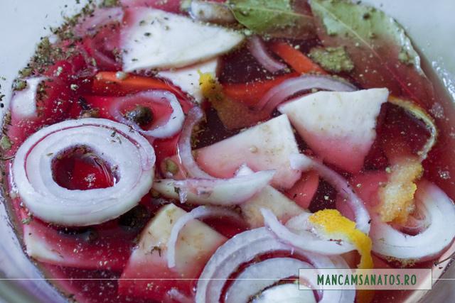 legume si mirodenii in otet din vin, pentru marinata fiarta