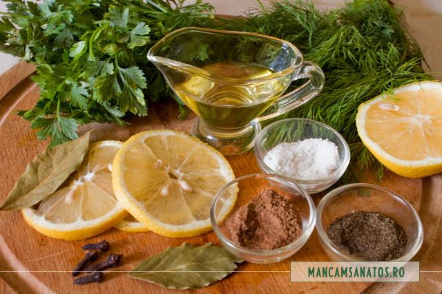 ingredinetele marinatei pentru legume