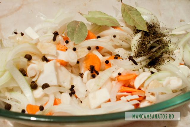 legume si mirodenii pentru marinata vanat cu pene