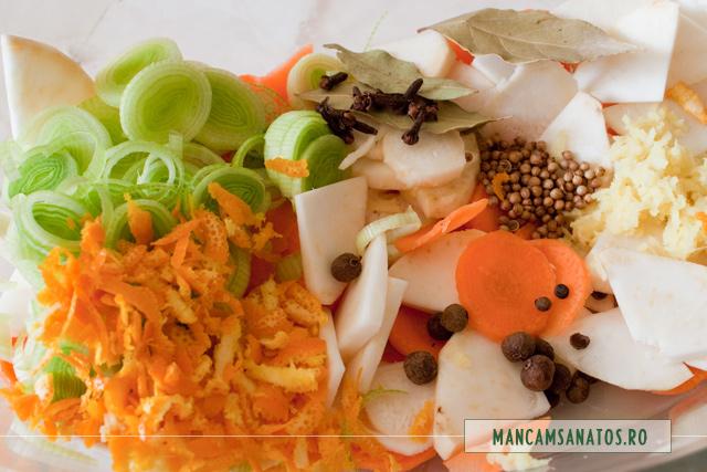 radacinoase, praz, ghimbir, coaja de portocale si mirodenii, pentru pregatirea marinatei pentru ratoi salbatic, vanat