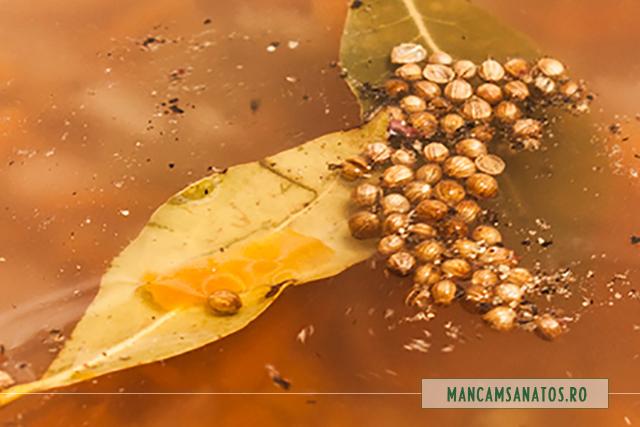 foi de dafin, seminte de coriandru si mix de piper, adaugate in ciorba de cartofi mov cu rozmarin