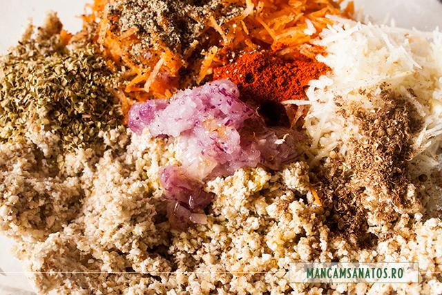 hrisca  si nuca macinate,legume si mirodenii  pentru sarmale raw vegan
