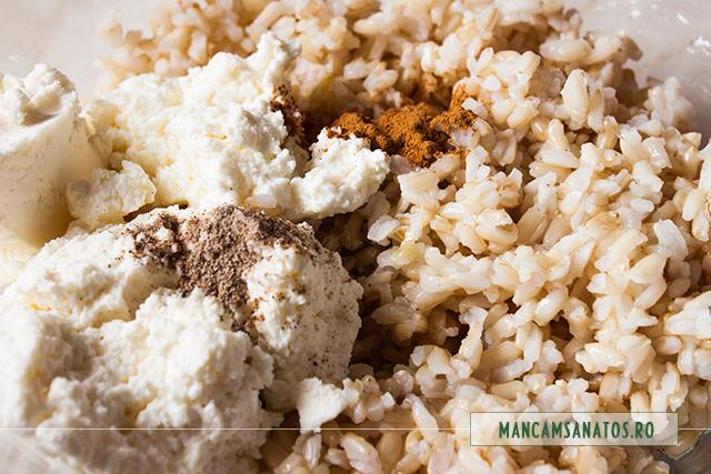 orez brun, branza de vaci si mirodenii, pentru desert