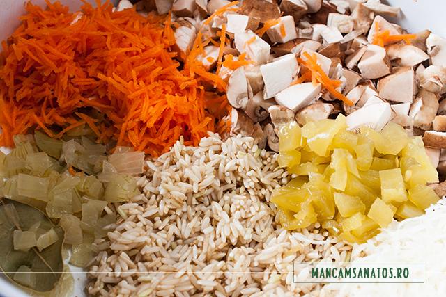 orez integral si legume, pentru umplutura sarmale vegetariene