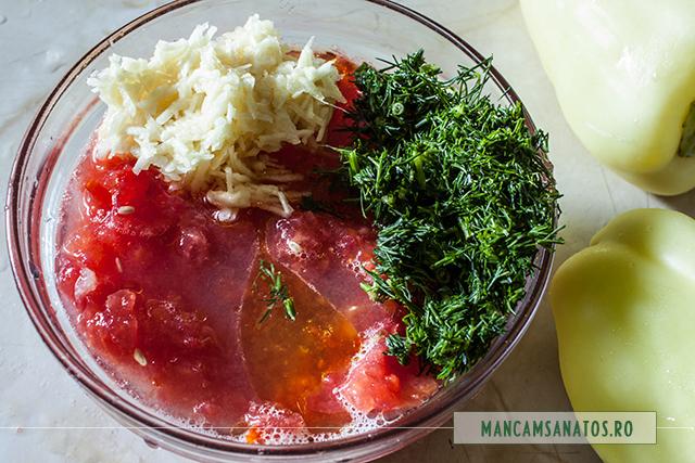 rosii, marar, usturoi, ulei de masline si lamaie, pentru dressing peste conopida cruda pentru ardei umpluti raw vegan