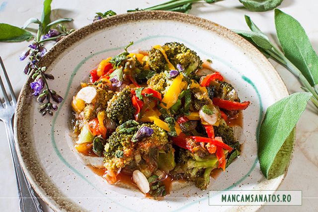 broccoli in sos, cu frunze si flori de salvie