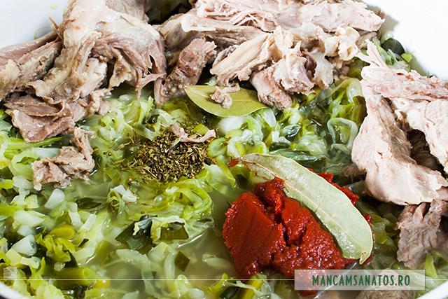 carne de ied, supa, varza si verdeturi, fierte, cu condimente si bulion