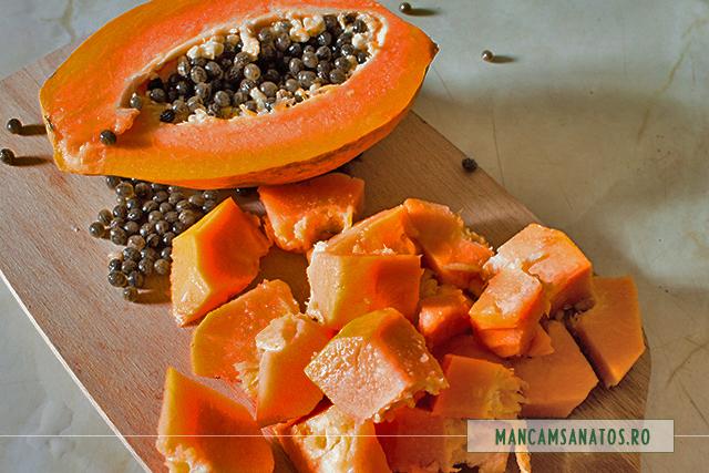 papaya pregatit pentru piure