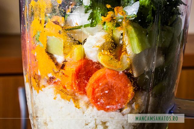 mei fiert lent, legume crude, turmeric, patrunjel verde si lamaie, pentru supa crema