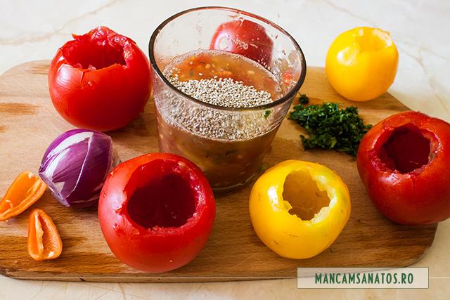 seminte de chia in suc de rosii si pulpa, pentru rosii umplute
