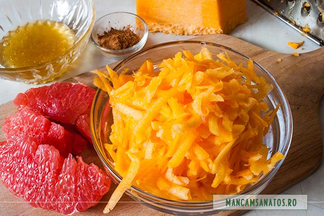dovleac razuit si pulpa de grapefruit, cu scortisoara si miere, pentru gem
