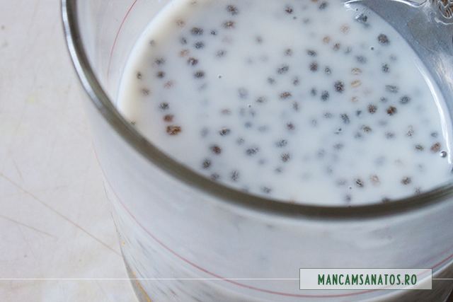 seminte de chia, la inmuiat, pentru smoothie cu aronia