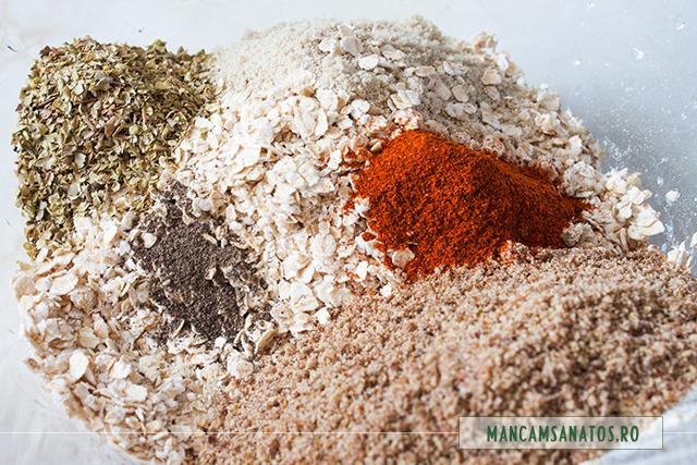ingrediente pentru blat raw vegan de tarta cu ciuperci marinate crud
