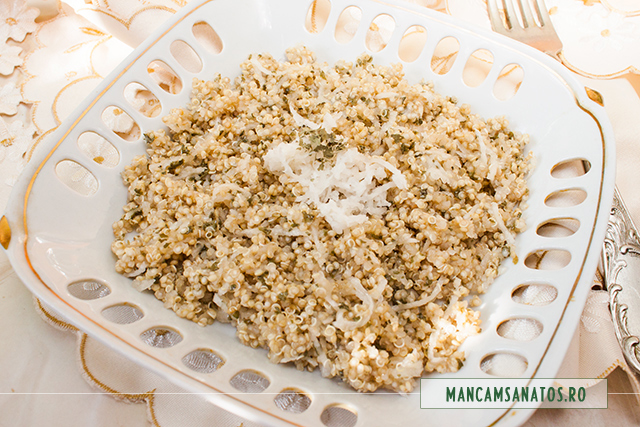 quinoa fiarta, cu ridiche neagra si mirodenii