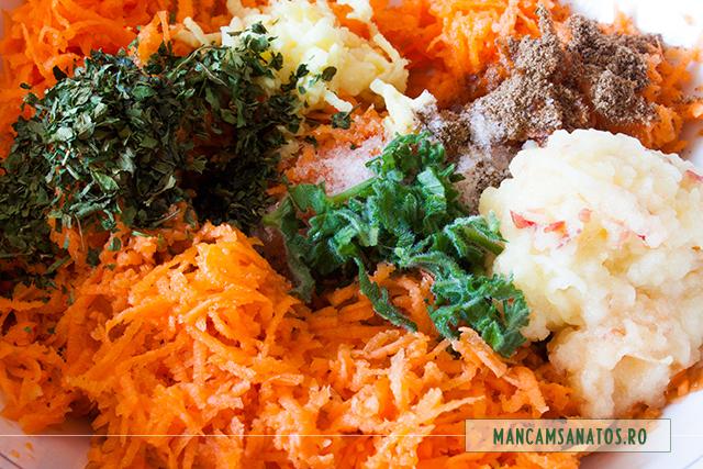 ingrediente pentru salata de morcovi cu mar si mirodenii, in castron