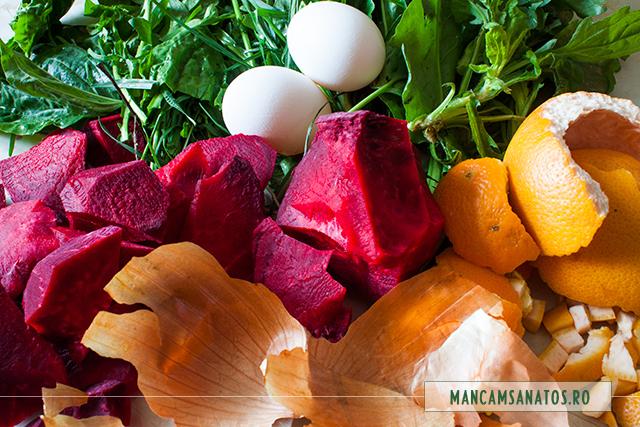 frunze verzi, sfecla rosie, frunze de ciapa, coji de portocale si de grapefruit pentru vopsirea naturala a oualor de Paste