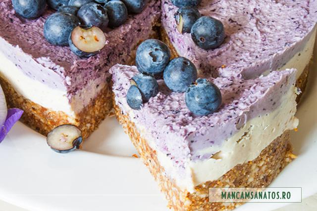 cheesecake raw vegan, cu afine, feliat