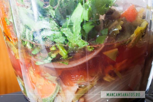 ingrediente in blender pentru supa crema de loboda si patlagina, cu frunze de telina
