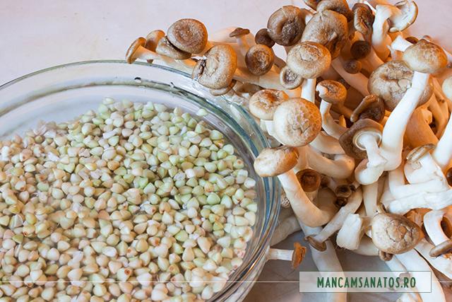 hrisca hidratata si ciuperci Shimeji, pentru salata