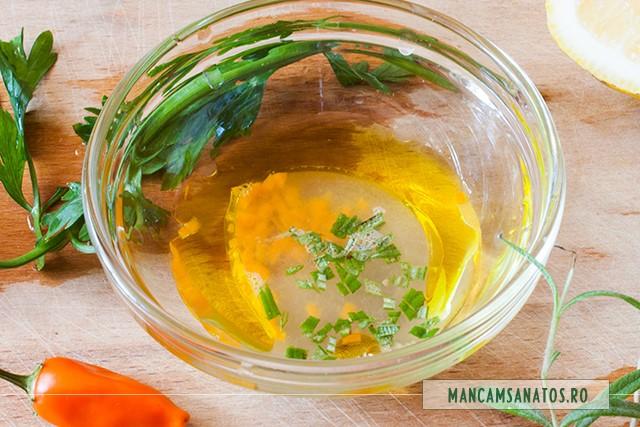 ingredienet dressing picant, pentru morcovi la abur