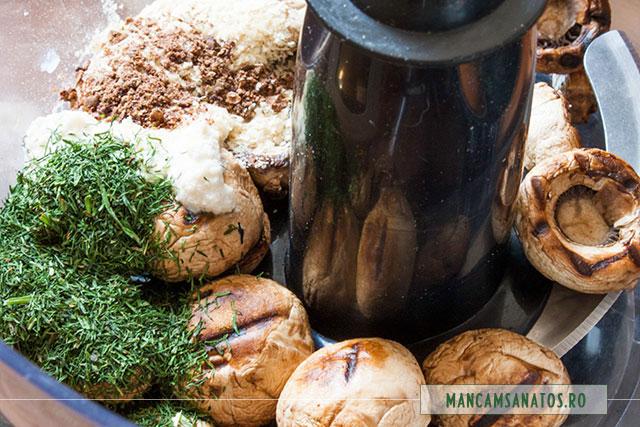 ingrediente umplutura de ciuperci in robot, pentru ciuperci in aluat integral vegetal nedospit, fulg de nea