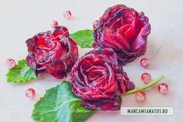 trandafiri din sfecla rosie cu emulsie de hrean, la cuptor
