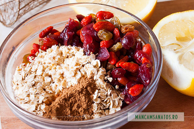 prajitura raw vegana cu fructe deshidratate si fulgi de ovaz
