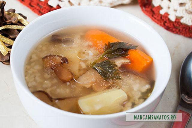 supa de orez brun, cu ciuperci shiitake