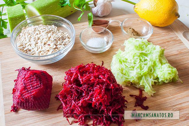 ingrediente pentru aperitiv raw vegan cu legume si fulgi de ovaz, pentru Valentine's Day